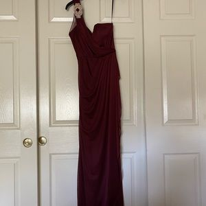Maroon One-Shoulder Evening Gown